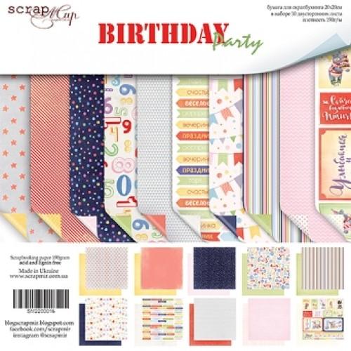 Набор односторонней бумаги 20х20см от Scrapmir-Birthday Party