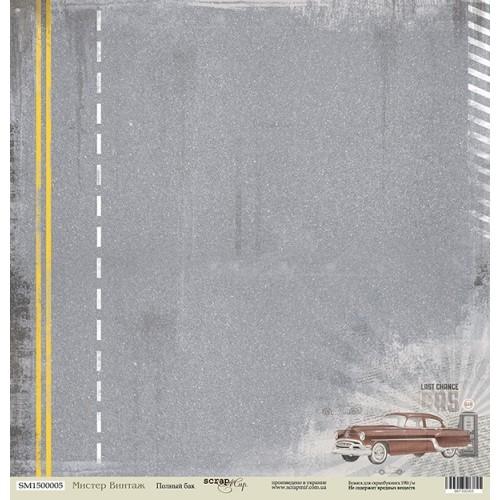 Лист односторонней бумаги 30x30 от Scrapmir Полный Бак из коллекции Мистер Винтаж
