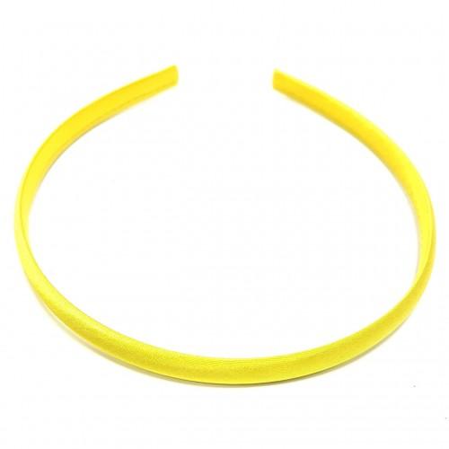 Обруч пластиковый в атласной ленте,10 мм-№8-ярко-жёлтый