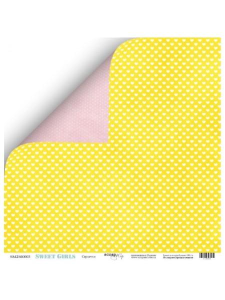 Лист двухсторонней бумаги 30x30 от Scrapmir Сердечки из коллекции Sweet Girls