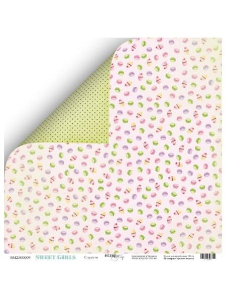 Лист двухсторонней бумаги 30x30 от Scrapmir Сладости из коллекции Sweet Girls