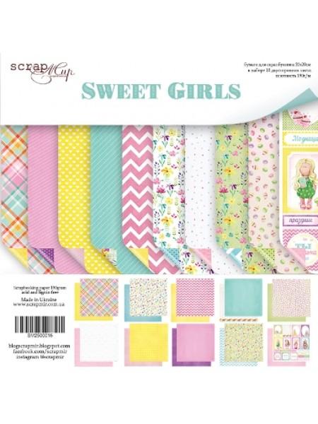 Набор двусторонней бумаги 20х20см от Scrapmir-Sweet Girls