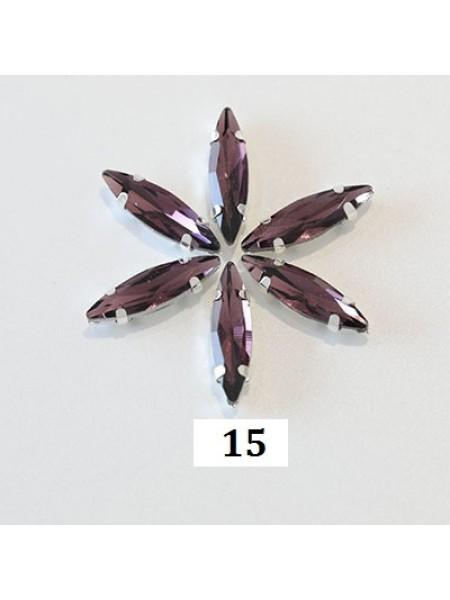 Пришивные стразы в серебрянных цапах ,стекло № 15,лодочка,4*15мм.цена за 1 шт