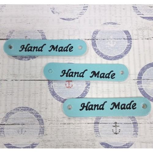 Бирочка из ис.кожи- Hand made.цв-мятно-голубой,49*10мм
