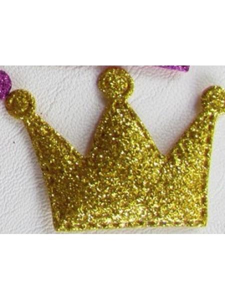 Декоративный элемент-корона с глиттером-золото