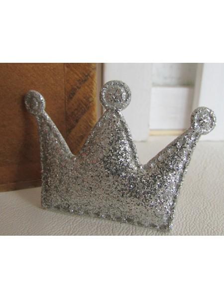 Декоративный элемент-корона с глиттером-серебро