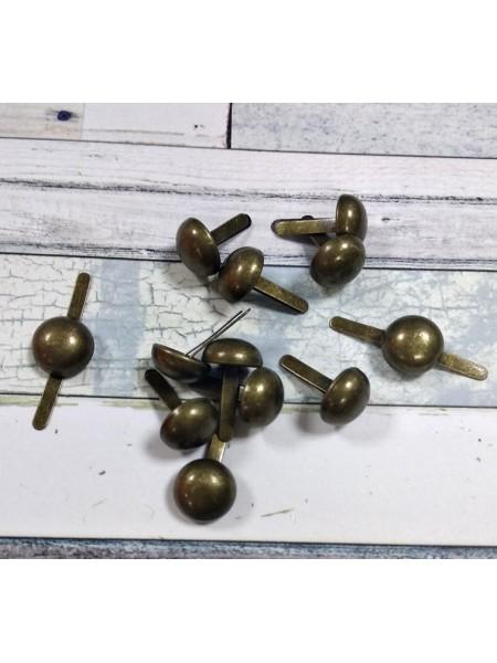 Брадсы большие ,10мм,цв-бронза,цена за 10 шт