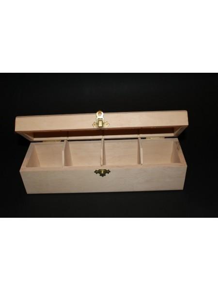 Заготовка №-76-Шкатулка для чая на 4 отд,прямоугольная ,размер 295*90*85  мм