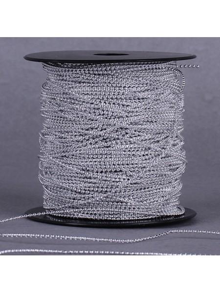 Бусины на нитке. серебро,1,5мм. цена за 1 метр