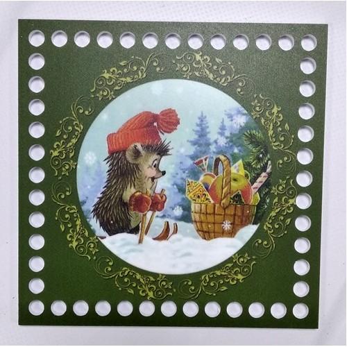 Новогоднее донышко для корзины с рисунком,15*15см