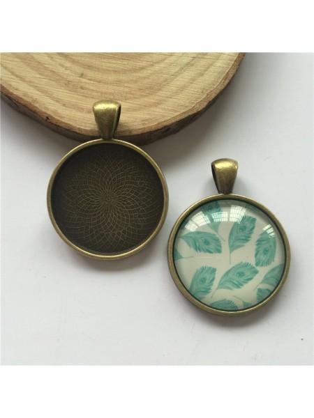 Основа для кулона под заливку(сеттинг круглый) ,бронза-№3