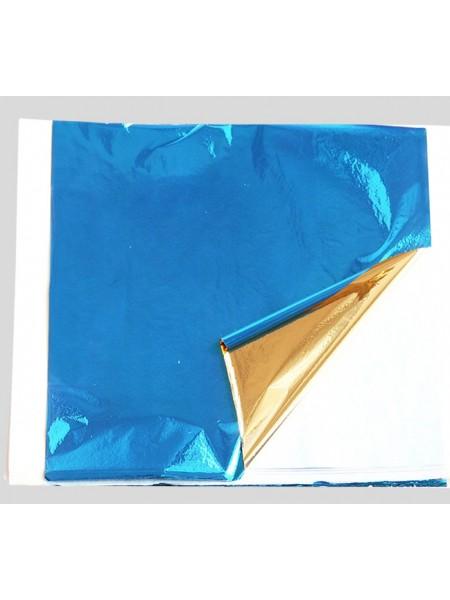 Поталь двухцветная,14*13 см,.цв-синий-золото. Цена за 5  шт