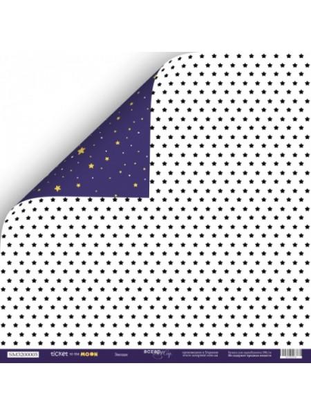 Лист двусторонней бумаги 30x30 от Scrapmir Звёзды из коллекции Ticket to the Moon