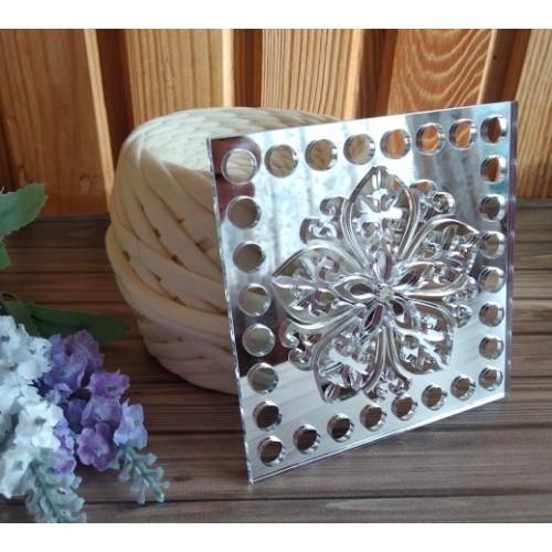 Зеркальное донышко(боковушка для сумки),Цветок,цв-серебро,квадрат, 10 см
