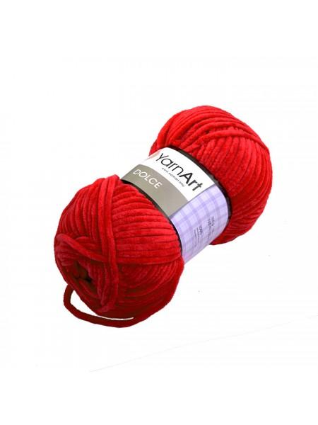 Плюшевая пряжа Dolce YarnArt ,№748,цв-красный,100гр