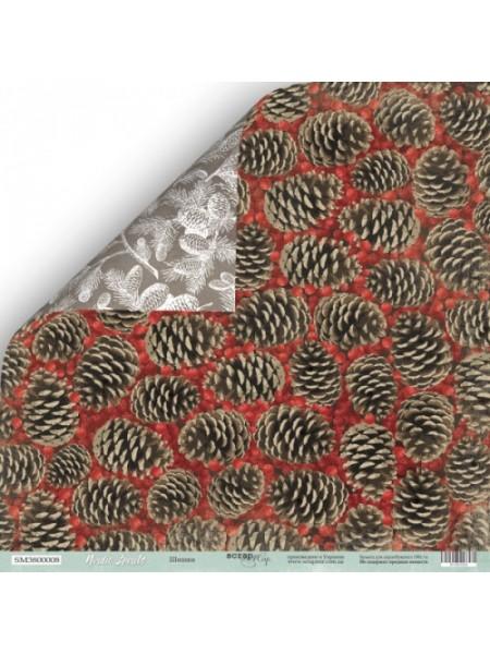 Лист двусторонней бумаги 30x30 от Scrapmir-Шишки из коллекции Nordic Spirits