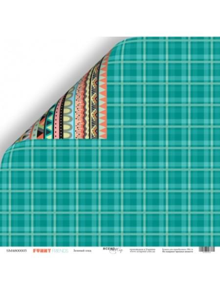 Лист двусторонней бумаги 30x30 от Scrapmir-Зелёный плед из коллекции Funny Friends