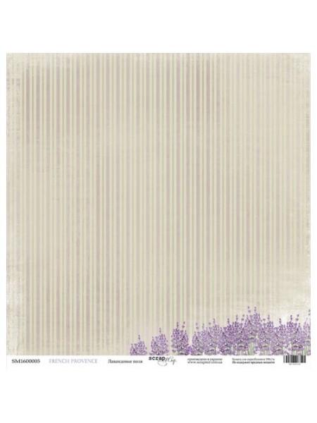 Лист односторонней бумаги 30x30 от Scrapmir Лавандовые поля из коллекции French Provence