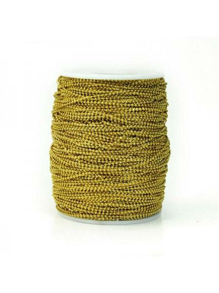Бусины на нитке. золото,1,5мм. цена за 1 метр