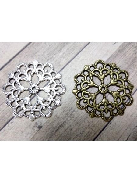 Декоративный элемент ,филигрань,круг,29 мм,цв.бронза,цена за 1 шт
