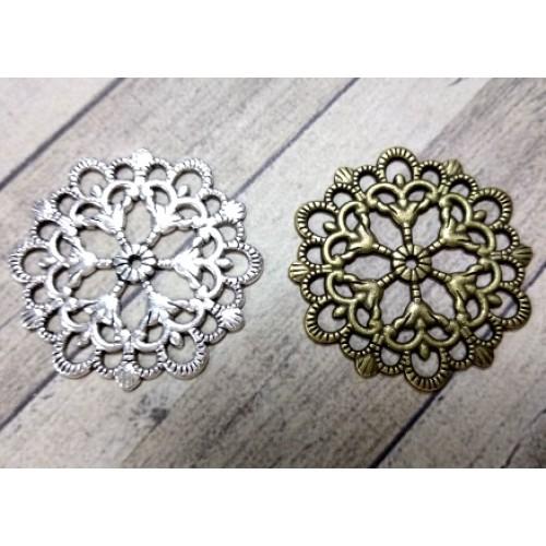 Декоративный элемент ,филигрань,круг,29 мм,цв.серебро,цена за 1 шт