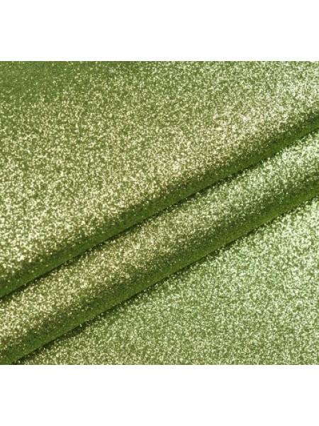 Искусственная кожа с глиттером (глиттерный кожзам),цв-св-зелёный,22*35см