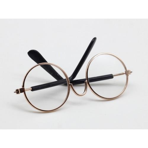 Очки со стеклом,прозрачные,цв оправы-золото, 7,5 см