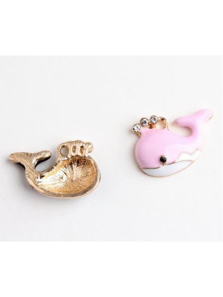 Подвеска с эмалью, кит розовый,16*24мм