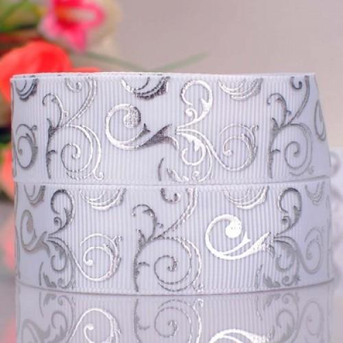Лента репсовая -Серебрянный завиток на белом,2,2см.-цена за 1 метр