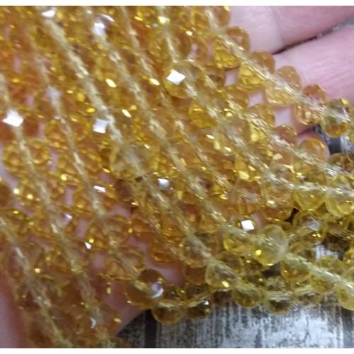 Бусины гранёные на леске,8*6 мм стекло,цв-№121