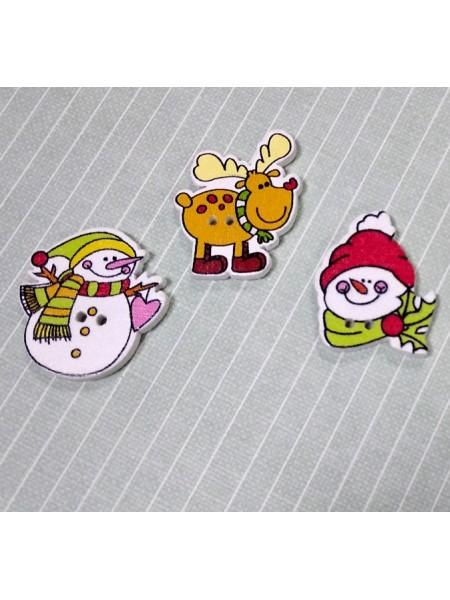 Пуговица новогодняя-Снеговик в шарфе ,цена за 1 шт