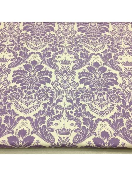 Мерный лоскут(хлопок)-Дамаск фиолетовый на белом,37*50 см.цена за отрез