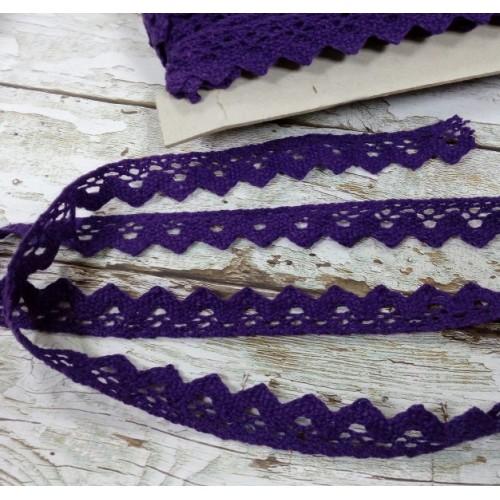 Тесьма хлопковая ,вязаная,17мм.цв-темно-фиолетовый,цена за 1 м