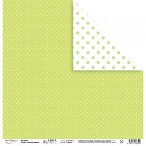 Бумага для скрапбукинга ,двусторонняя.Крупные горошки,цв-салатовый