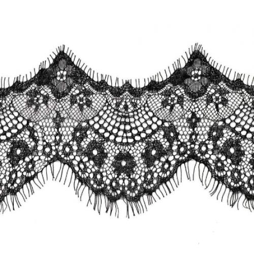 Французское кружево(реснички)цв-чёрный ,шир 12см,цена за 1 метр