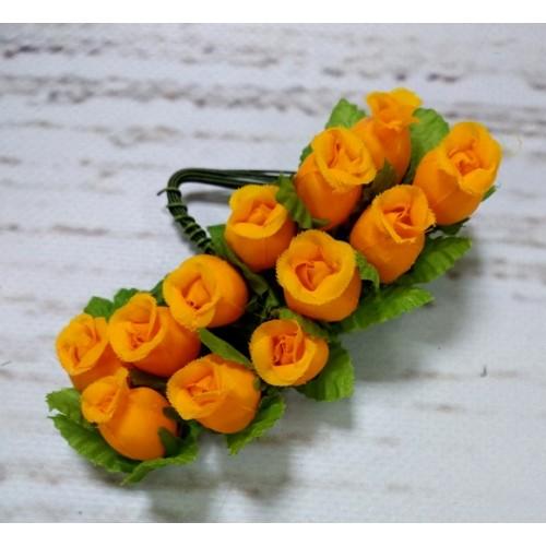 Букетик тканевых розочек, цвет жёлто-оранжевый