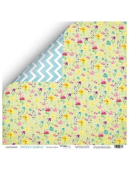 Лист двухсторонней бумаги 30x30 от Scrapmir Полевые цветы из коллекции Sweet Girls