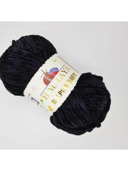 Плюшевая пряжа Долфин Бэби,цв-Чёрный,№311,100гр