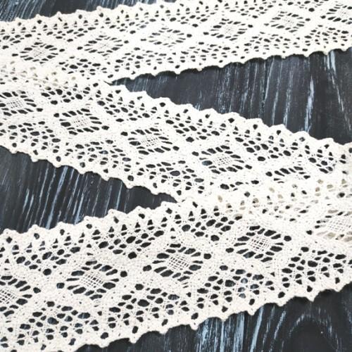 Кружево вязанное ,цв-белый, 65 мм,цена за 1 метр