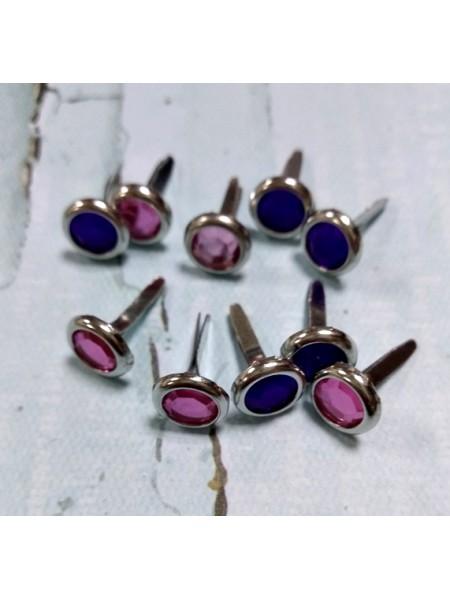 Брадсы кристалл. розовый и фиолетовые ,8мм,. цена за 10 шт