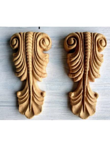 Декор из древесной пульпы-№306-цена за пару, 12*6 см