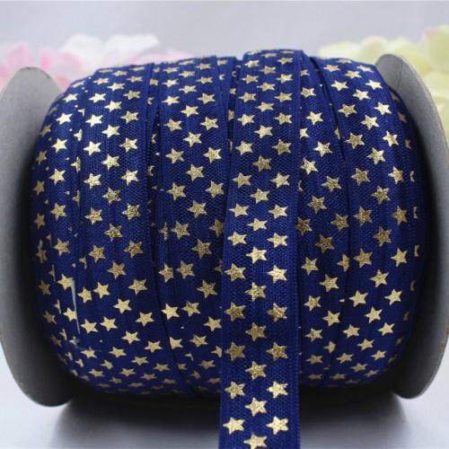 Резинка эластичная,1,5см-золотые звёздочки на синем. цена за 1 метр