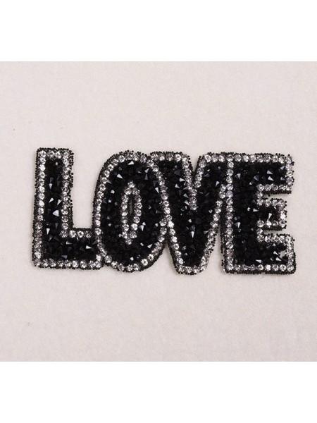 Термоаппликация стразовая -Love,цв-черный,размер 8,5*4см