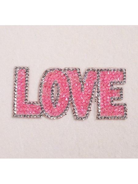 Термоаппликация стразовая -Love,цв-розовый,размер 8,5*4 см
