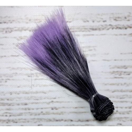 Трессы-прямые (волосы для кукол).цв-черный-сиреневый,15 см