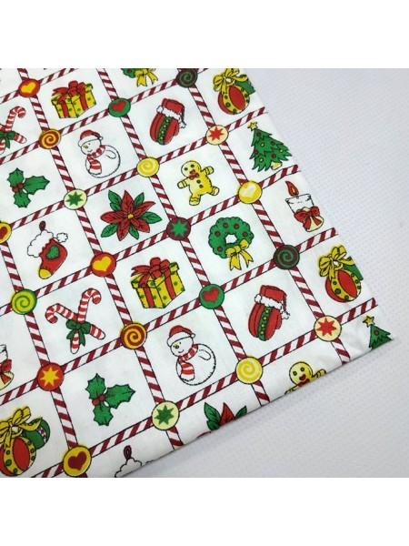 Мерный лоскут(хлопок)-новогодний принт №1,50*50 см.цена за отрез