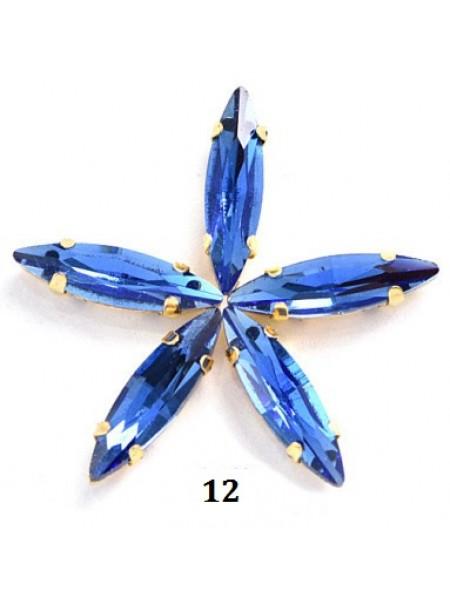Пришивные стразы в серебрянных цапах ,стекло № 12,лодочка,4*15мм.цена за 1 шт