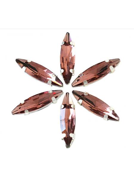 Пришивные стразы в серебрянных цапах ,стекло № 05,лодочка,4*15мм.цена за 1 шт