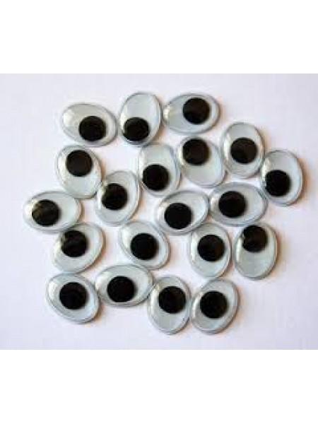 Глаза овальные с бегающими зрачками , 15*12 мм, цена за пару