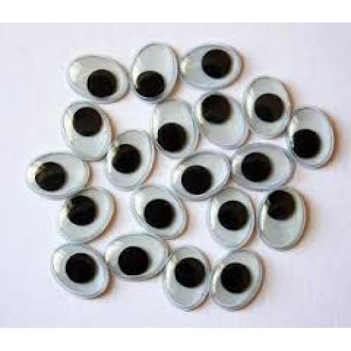Глаза овальные с бегающими зрачками , 12*10 мм, цена за пару